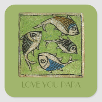 Love You Papa Square Sticker