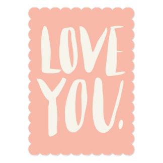 Love you Peach Scalloped Flat Card
