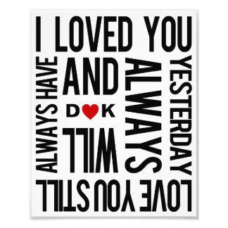 """Love You"" Personalized Art Print Photo Print"