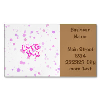 Love you, pink business card magnet