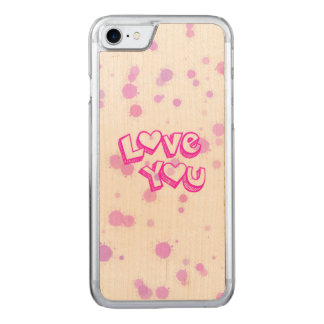 Love you, pink carved iPhone 8/7 case