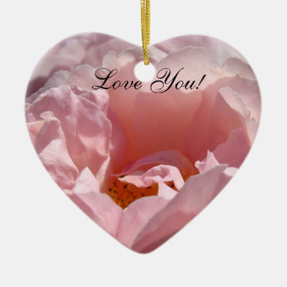 Love You! Pink Rose heart shaped Ornament