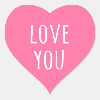 Love you pink Valentine's day heart Heart Sticker