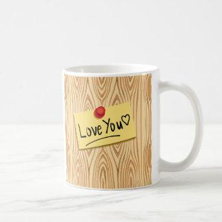 LOVE YOU POST-it Message, Love sticker on Wood Coffee Mug