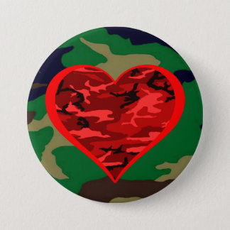 Love You Red Camo Heart Military Valentine Button