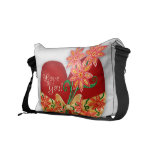 """""""Love You"""" Red Heart with Whimsical flowers Messenger Bag"""