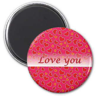 Love You Red Hearts Hot Pink Round Magnet