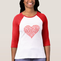 Love You Red Raglan T-shirt Valentine Day at Zazzle