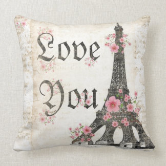 Love You Romantic Paris Pink cherry blossoms Throw Pillow
