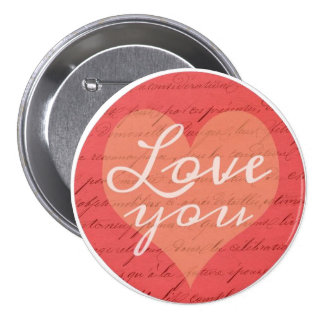 Love You Romantic Vintage French Heart Pinback Button