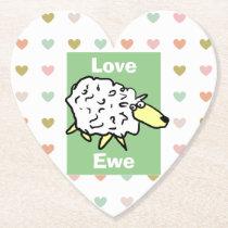 Love You Sheep Pun Paper Coaster