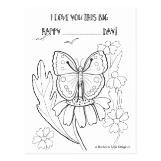 Love You So much Butterfly ColorIn Postcard