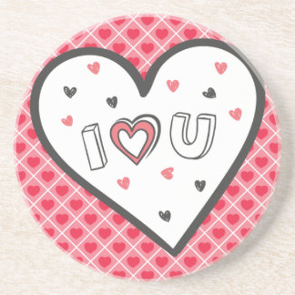 Love You So Much Romance Pink Heart Cute Sweet Coaster