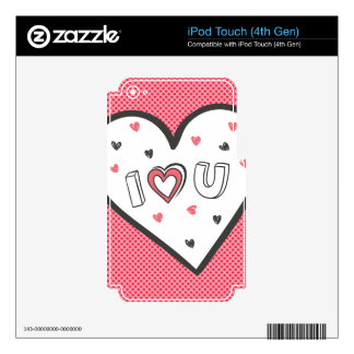 Love You So Much Romance Pink Heart Cute Sweet iPod Touch 4G Skins
