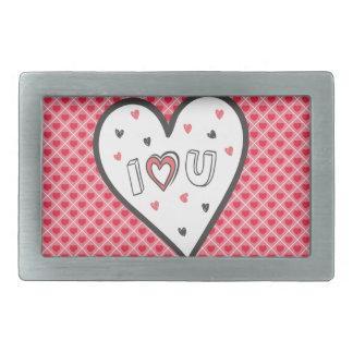 Love You So Much Romance Pink Heart Cute Sweet Rectangular Belt Buckle