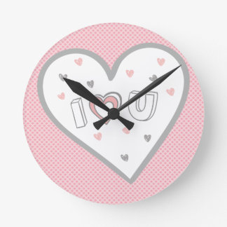 Love You So Much Romance Pink Heart Cute Sweet Round Clock