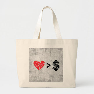 love you t grunge tote bag