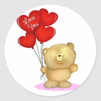 Love You Teddy Bear holding heart ballons Stickers