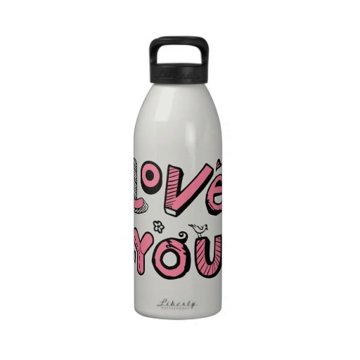 Love You Text Design Drinking Bottle