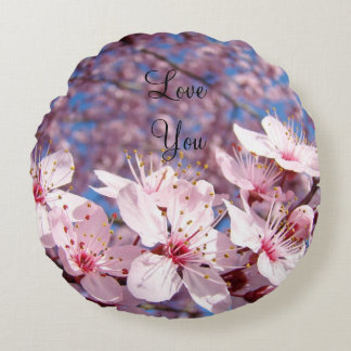 Love You throw pillow Pink Spring Tree Blossoms