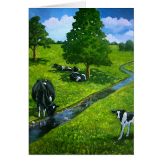 Love You Till Cows Come Home: Painting of Cows Greeting Card