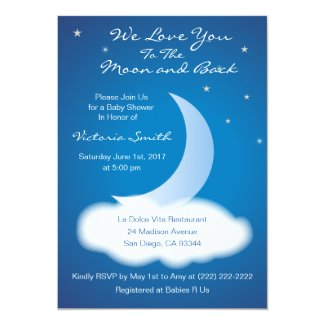 Love You to the Moon and Back Baby Shower - Blue