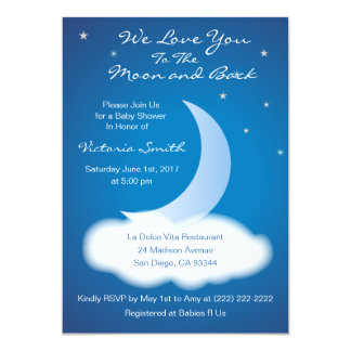 Love You to the Moon and Back Baby Shower - Blue Card