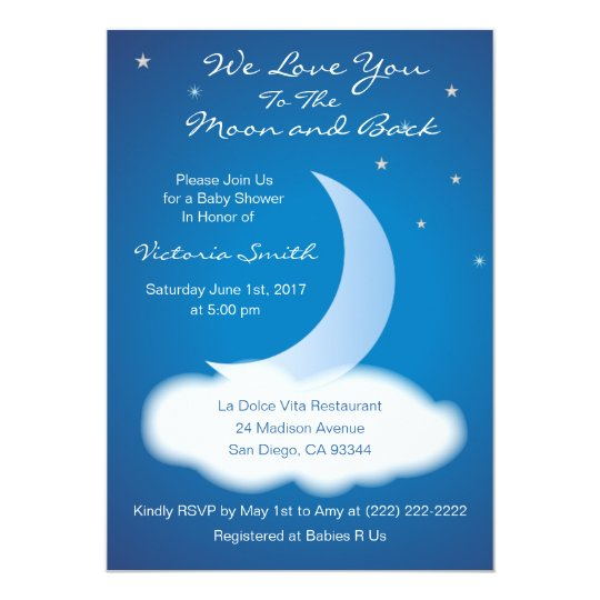 love you to the moon and back baby shower - blue card | zazzle,