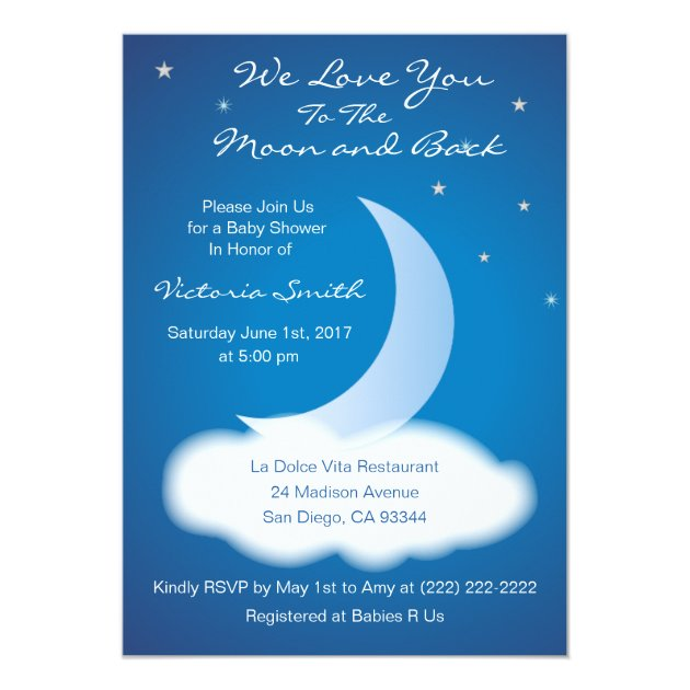 love you to the moon and back baby shower - blue card | zazzle, Baby shower invitations