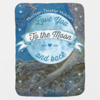 Love You to the Moon and Back Lil' Man Baby Boy Swaddle Blanket