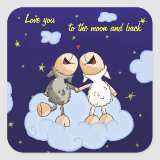 Love you to the moon and back series square sticker