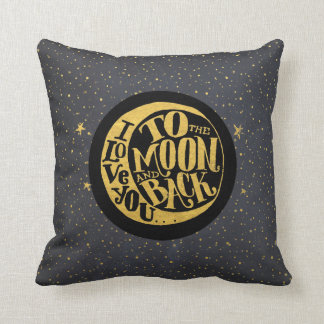 Love You To The Moon And Back - Stars Night Sky Throw Pillow