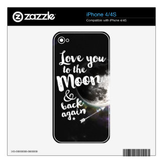 Love you to the Moon & back again • Space Design Skins For The iPhone 4S