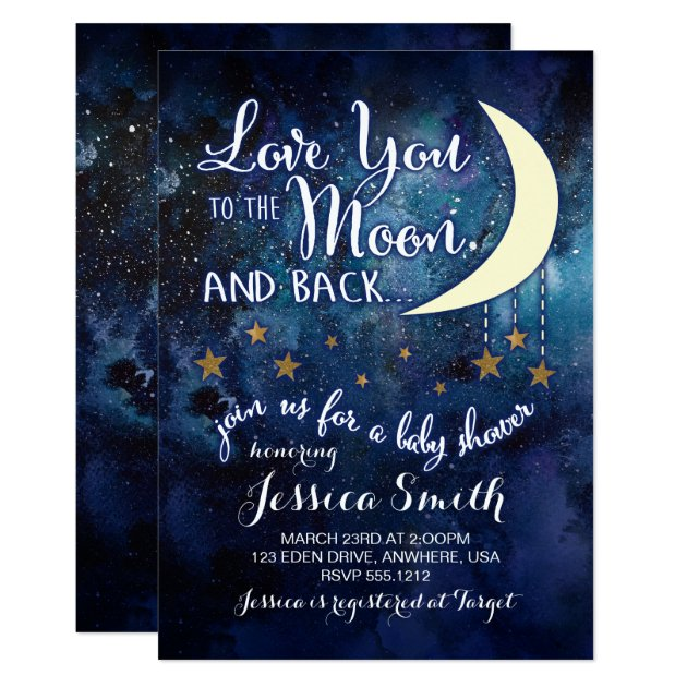 Love you to the Moon & Back Baby Shower Invitation   Zazzle