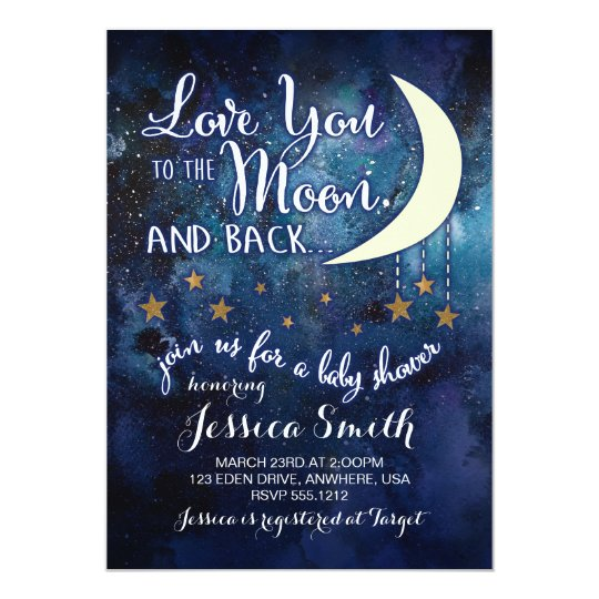 love you to the moon back baby shower invitation. Black Bedroom Furniture Sets. Home Design Ideas