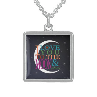 Love You to the Moon & Back Square Pendant Necklace