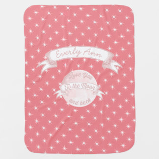 Love You to the Moon Chalkboard Banner Baby Girl Receiving Blanket