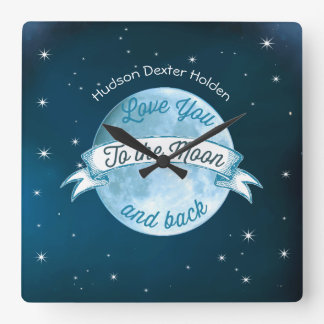 Love You to the Moon Chalkboard Banner Baby Square Wall Clock
