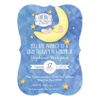 Love You to the Moon n back Watercolor Baby Shower Card
