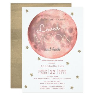 Love You to the Moon Pink Gold Baby Shower Invitation