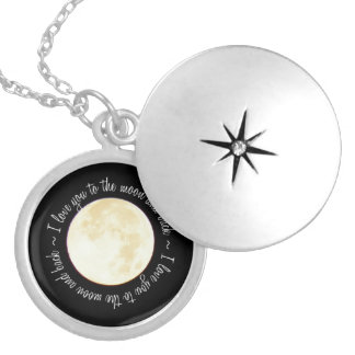 Love You to the Moon Round Locket Necklace
