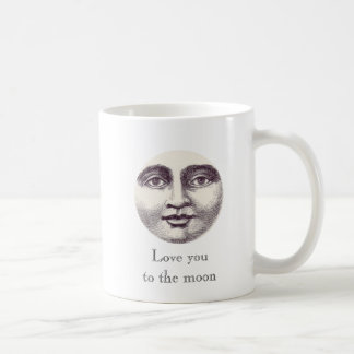 Love You to the Moon Vintage Man in the Moon Coffee Mug