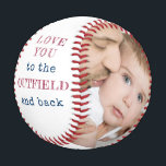 """Love you to the Outfield and Back White Photo Baseball<br><div class=""""desc"""">Personalized white baseball with two photos and lovely baseball quote from kids. The wording reads """"love you to the outfield and back"""" and is lettered in hatched print and typewriter text. The photo template is set up ready for you to add your pictures and the year. The design has a...</div>"""