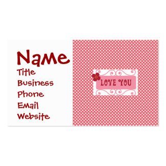 Love You Valentine s Day Gifts on Pink Polka Dots Business Cards