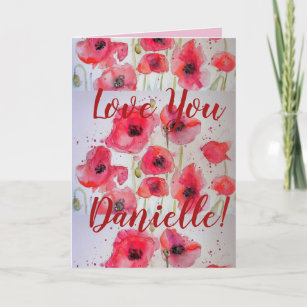 Love You Wifes Name Red Poppy Watercolor Card