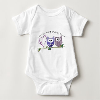 Love you with Owl my heart, cute Owls art Baby Bodysuit