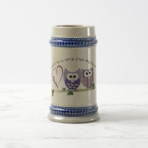 Love you with Owl my heart, cute Owls art Beer Stein