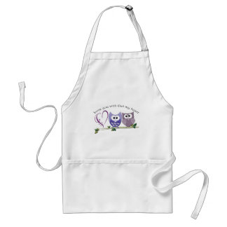 Love you with Owl my heart, cute Owls art gifts Adult Apron