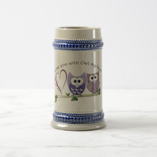 Love You with Owl my Heart, cute Owls art gifts Beer Stein