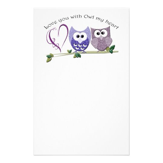 Love You with Owl my Heart, cute Owls art gifts Stationery